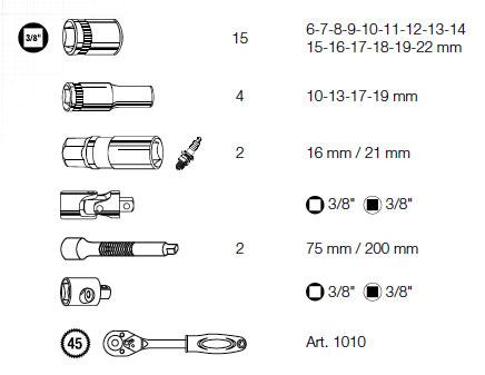 3/8 Zoll Steckschlüsselsatz 26-teilig, Kraftwerk 1012