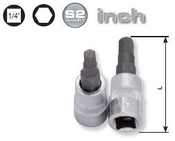 1/4 Zoll Innensechskant-Bit-Stecknuss INCH 1/8 Zoll, Kraftwerk 106501