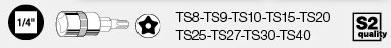 Kraftwerk 115399 MagAlu 5-Stern-Torx-Bit-Stecknuss-Satz mit Loch 1/4 zoll