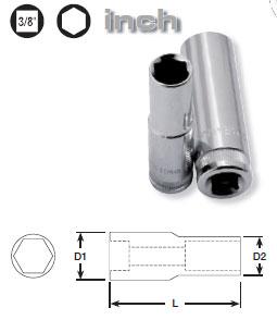 Tiefe 6-kant-Stecknuss für zöllige Schrauben