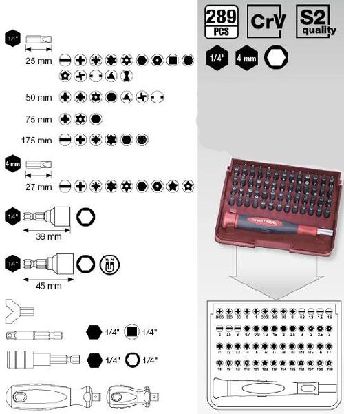Kraftwerk 2779 Universal-Schraub-Bit-Koffer 1/4 Zoll, 4 mm und 6-kant 289-teilig