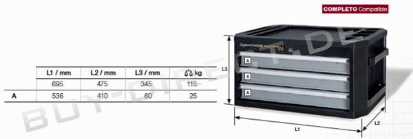 Kraftwerk 2904 Werkzeugkoffer mit 3 Schubladen