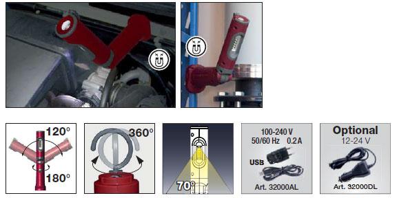 Wiederaufladbare Akku-LED-Handlampe mit 5 + 1 superhellen, weißen SMD-LEDs