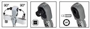 Kraftwerk 3201F Flexible Umschaltknarren-Set 1/4 Zoll 2-teilig