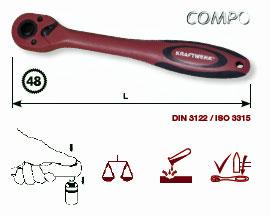 Kraftwerk 3206 COMPO Komposit-Umschaltknarre 1/4 Zoll