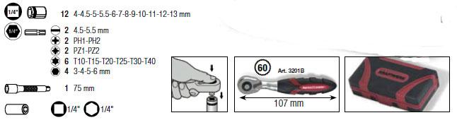 Kraftwerk 4006 Mikro-Steckschlüsselsatz 1/4 Zoll 32-teilig