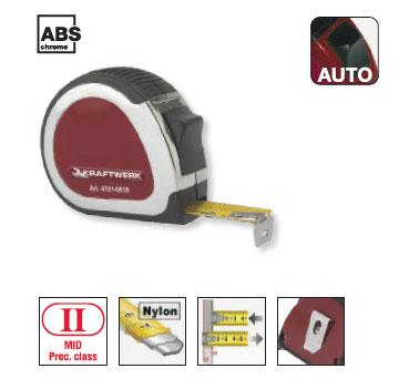 Rollmeter im verchromten ABS-Kunststoffgehäuse