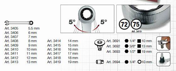 Kraftwerk 4900-17B Completo Clickraft Ratschenschlüssel Einlegeschale 19-tlg